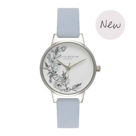 Montre Olivia Burton Animal Motif Sparrow Chalk Blue & Silver - OB16AM109