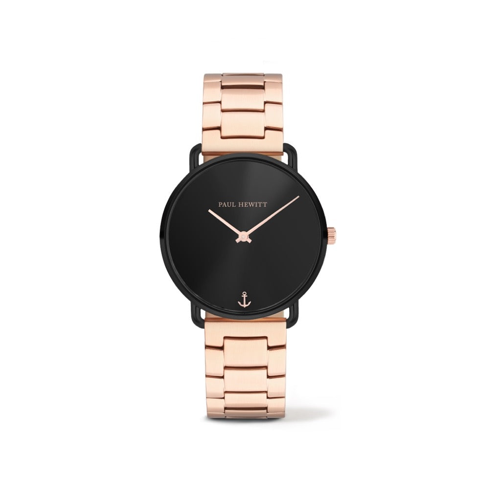Montre Miss Ocean Line Black Sunray Bande Métallique Or Rosé - PH-M-B-BS-33S