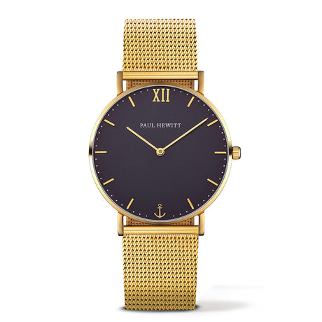 Montre Paul Hewitt Sailor Line Blue Lagoon IP Doré Bande Métallique IP Gold