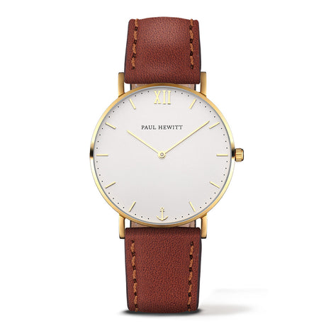 Montre Paul Hewitt Sailor Line White Sand IP Doré Bracelet Cuir Marron