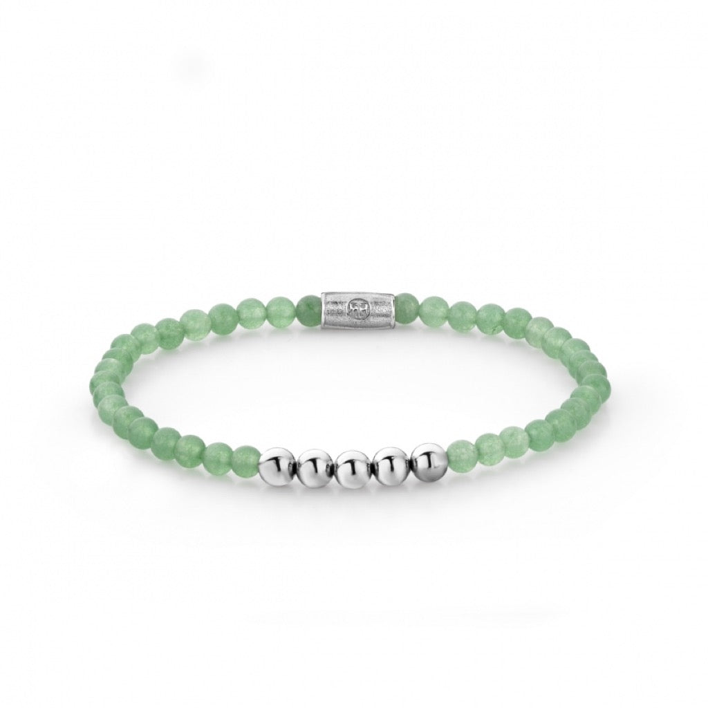 Bracelet Rebel & Rose More balls than most Shades of Jade 4mm silver colored - RR-40035-S