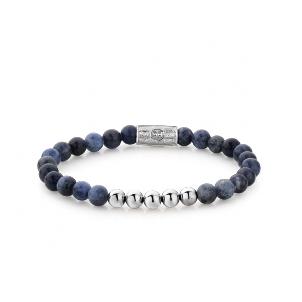 Bracelet Rebel & Rose More balls than most Midnight Blue 6mm silver - RR-60012-S