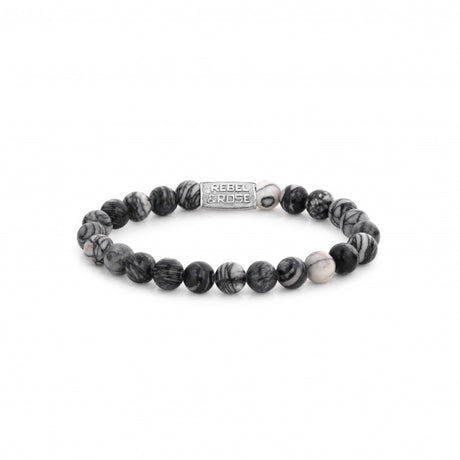Bracelet Rebel & Rose Stones Only Black Wolf 8mm Silver - RR-80032-S