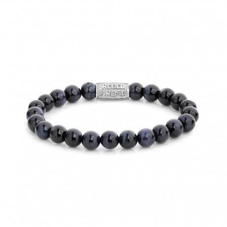 Bracelet Rebel & Rose Stones Only Tiger Blue 8mm Silver - RR-80039-S