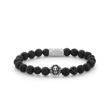 Bracelet Rebel & Rose Lion Head Black Moon Silver - RR-8L021-S