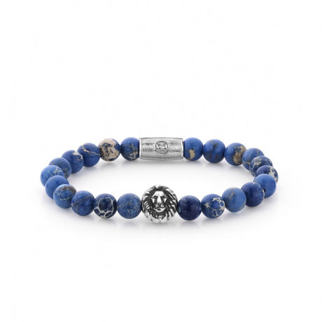 Bracelet Rebel & Rose Lion Head Universe Blue Silver - RR-8L023-S