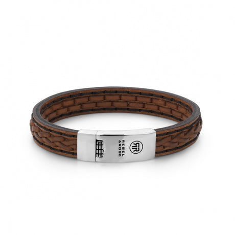 Bracelet Rebel & Rose Absolutely leather 2 Stranded Braid Earth - RR-L0012-N