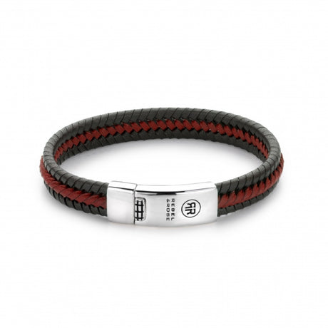 Bracelet Rebel & Rose Absolutely leather Twisted Black-Red - RR-L0040-S