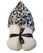 Black and White Leopard Hood on White Towel