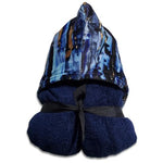 Navy Marble Hooded Towel