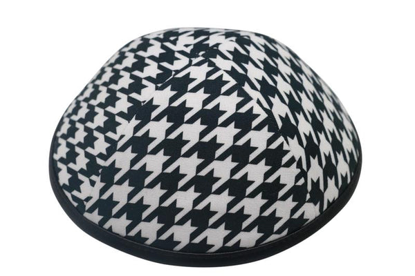 Black and White Houndstooth with Leather Rim Ikippah