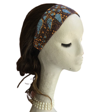Brown with Blue Flowers Headband