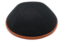 Black linen with Camel Leather Rim Ikippah