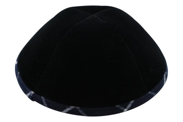 Black Velvet with Plaid Rim Ikippah