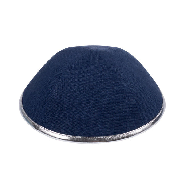 Navy Linen with Silver Rim Ikippah