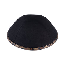 Black Linen with Leopard Rim Ikippah