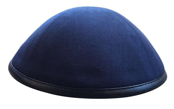 Navy Linen with Navy Leather Rim Ikippah