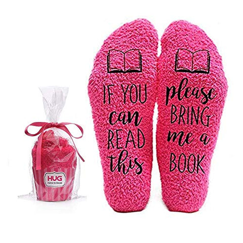 Bring Me a Book Funny Socks - Cool Coral Fuzzy Novelty Cupcake Packaging for Her - Gift Idea for Mom, Wife, Sister, Friend, Aunt or Grandma - Birthday, Christmas, Anniversary - 1 Pair