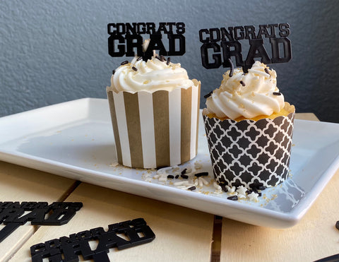Graduation Cupcake Ring/Pick (12 picks)