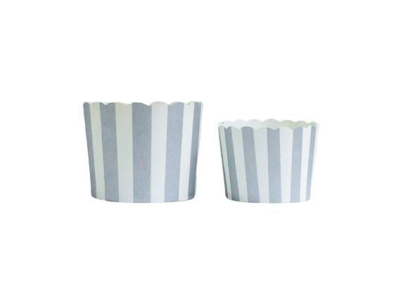 Silver Vertical Stripes Bake-In-Cups-   50 Large/60 Small Cups