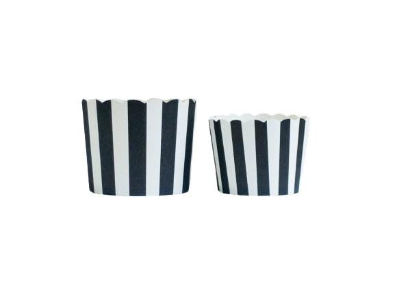 Black Vertical Stripes Bake-In-Cups-  50 Large/60 Small Cups