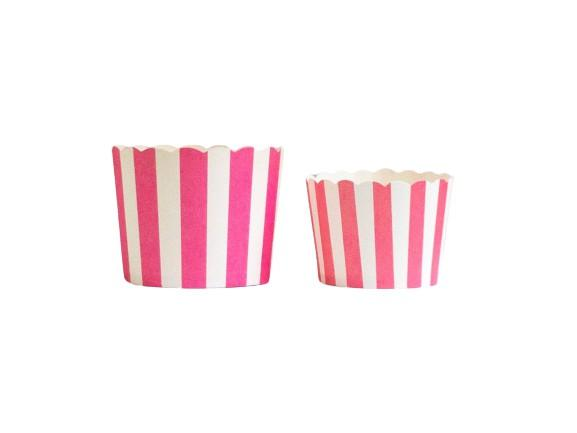 Case of Pink Vertical Stripes Bake-In-Cups-  1200 Large/1440 Small