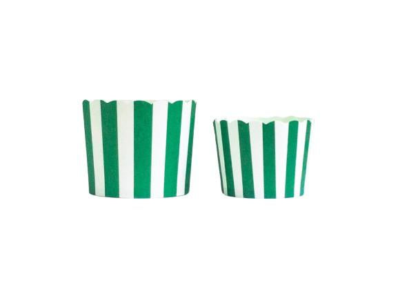 Case of Green Vertical Stripes Bake-In-Cups-   1200 Large/ 1440 Small Cups