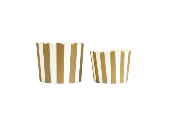 Case of Gold  Vertical Stripes Bake-In-Cups-  Large/Small