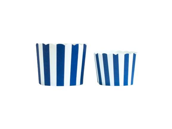 Case of Navy Blue Vertical Stripes Bake-In-Cups-  1200 Large/1440 Small