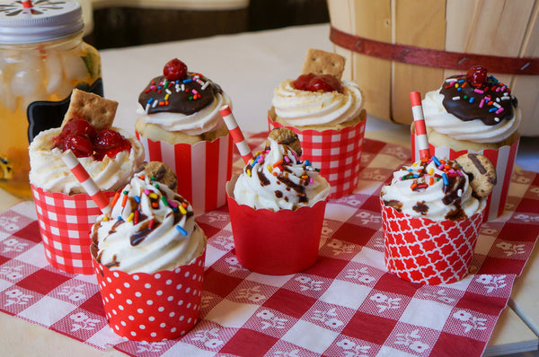 Case of Red Polka Dots Bake-In-Cups-  1200 Large/1440 Small