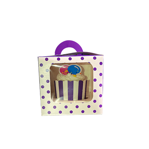 6 Purple Single Cupcake Box with Handle and Insert