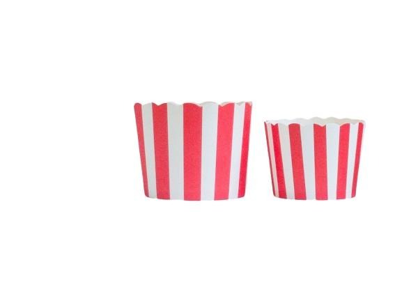 Case of Red Vertical Stripes Bake-In-Cups-  1200 Large/1440 Small