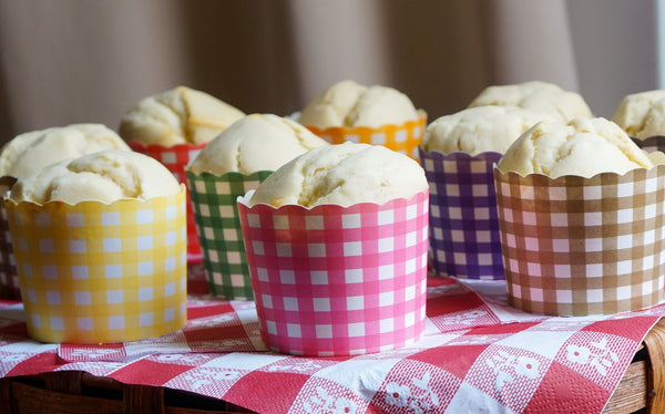 Case of 1200 Large Lemon Yellow Gingham Bake-In-Cups