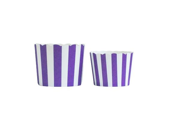 Case of Plum Purple Vertical Stripes Bake-In-Cups-  1200 Large/1440 Small