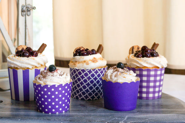 Plum Purple Quadrafoil Bake-In-Cups-  Large/Small