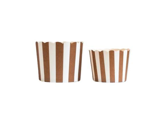 Chocolate Brown Vertical Stripes Bake-In-Cups-  Large/Small