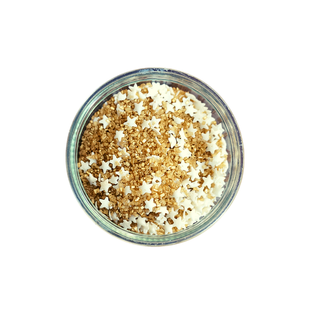 Gold Sugar Sprinkles with White Stars (3 oz)
