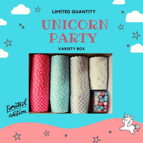 """Unicorn Party"" Variety Pack- Avail. in Large/Small Cups"