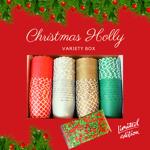 """Christmas Holly"" Variety Pack- Avail. in Large/Small Cups"