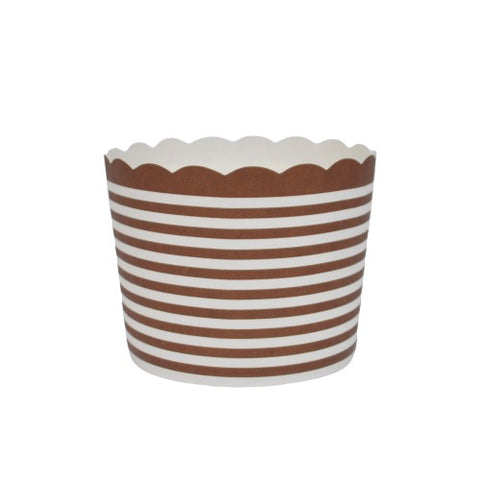 50 Large Chocolate Brown Horizontal Stripes Bake-In-Cups (standard size)