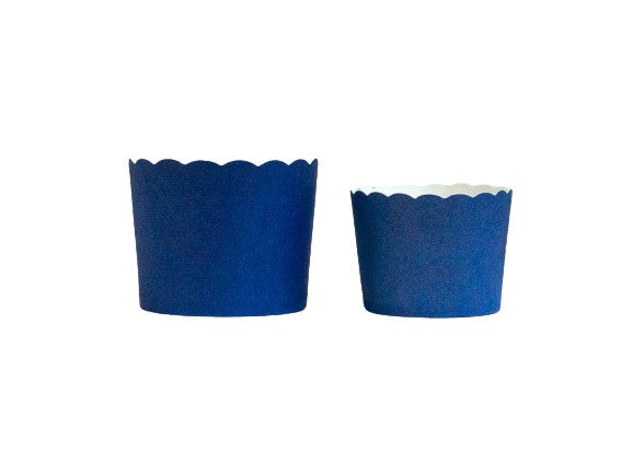Case of Solid Navy Blue Bake-In-Cups-  1200 Large/1440 Small
