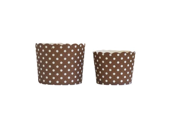 Case of Chocolate Brown Polka Dots Bake-In-Cups-   1200 Large/1440 Small