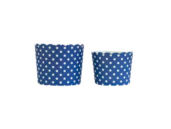 Case of Navy Blue Polka Dots Bake-In-Cups-  1200 Large/1440 Small