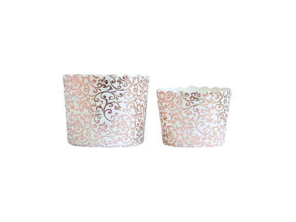 Case of Wedding Scroll Rose Gold Bake-In-Cups-  Large/Small