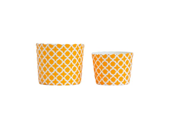 Case of Orange Quadrafoil Bake-In-Cups-  1200 Large/1440 Small
