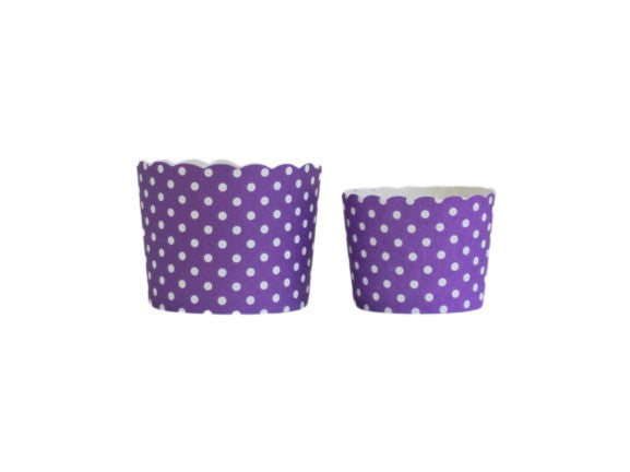 Case of Plum Purple Polka Dots Bake-In-Cups-  1200 Large/1440 Small