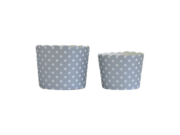 Silver Polka Dots Bake-In-Cups-   50 Large/60 Small Cups