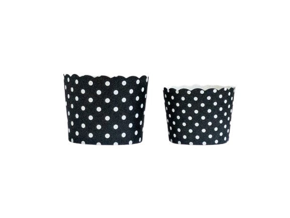 Case of Black Polka Dots Bake-In-Cups-  1200 Large/1440 Small