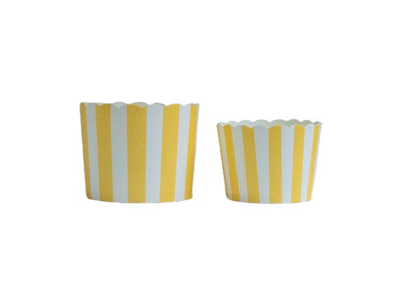 Case of Lemon Yellow Vertical Stripes Bake-In-Cups-  1200 Large/1440 Small