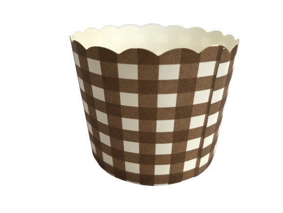 Case of Large Chocolate Brown Gingham Bake-In-Cups